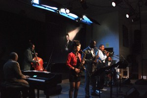 "The Frank Morgan Tribute band at San Quentin, L to R: George Cables, piano; Ron Carter, bass; Grace Kelly, alto; Mark Gross, alto; Delfeayo Marsalis, trombone; Marvin ""Smitty"" Smith, drums."