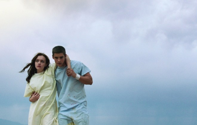 "Olivia Cooke and Brenton Thwaites in ""The Signal"""