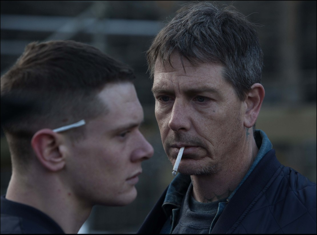 "Ben Mendelsohn and Jack O'Connell in ""Starred Up"""