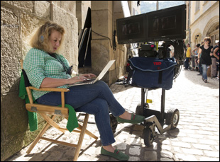 "Juliet Blake on the set of ""The Hundred Foot Journey"""
