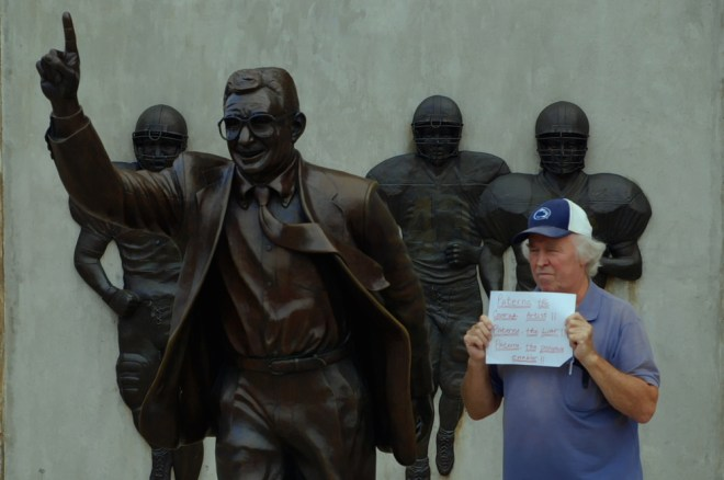 """At the Joe Paterno statue at Penn State in """"Happy Valley"""""""