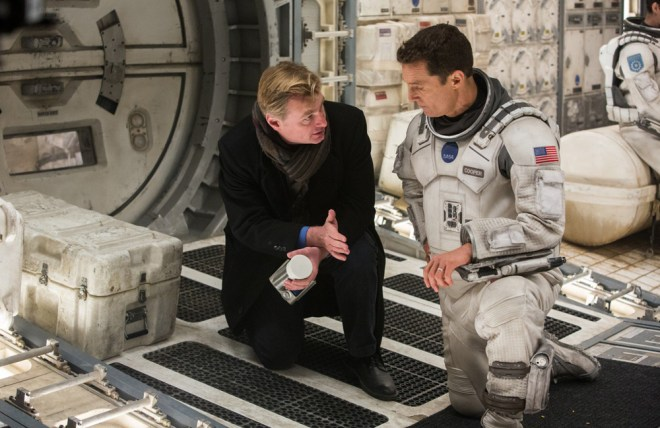 "Christopher Nolan and Matthew McConaughey on the set of ""Interstellar"""