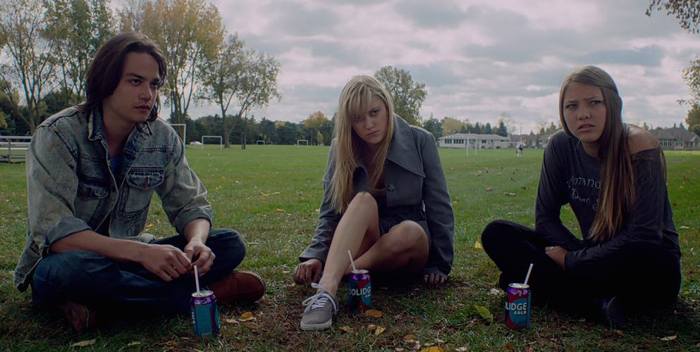 """Keir Gilchrist, Maika Monroe and Olivia Luccardi in """"It Follows"""""""