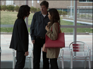"Hal Hartley on the set of ""Ned Rifle"" with Aubrey Plaza and Liam Aiken"