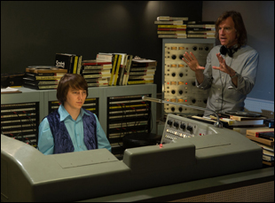 "Paul Dano and Bill Pohlad film a scene for ""Love and Mercy"""