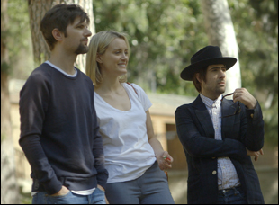 "Adam Scott, Taylor Schilling and Jason Schwartzman in ""The Overnight"""