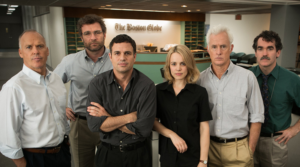 "Michael Keaton, Liev Schreiber, Mark Ruffalo, Rachel McAdams, Brian d'Arcy James, John Slattery and Mark Ruffalo in ""Spotlight"""