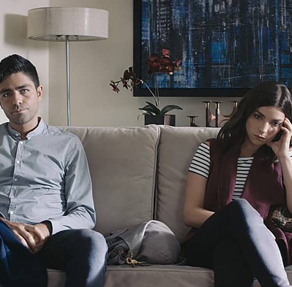 "Adrian Grenier and Angela Trimbur in ""Trash Fire"""
