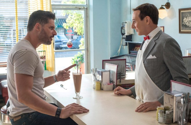 "Joe Manganiello and Paul Reubens in ""Pee Wee's Big Holiday"""