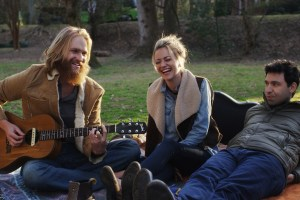 "Wyatt Russell, Meredith Hagner and Alex Karpovsky in ""Folk Hero & Funny Guy"""