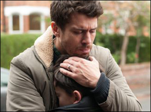 "Toby Kebbell and Lewis MacDougall in ""A Monster Calls"""