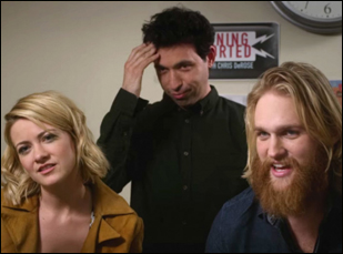 "Alex Karpovsky, Meredith Hagner and Wyatt Russell in ""Folk Hero & Funny Guy"""