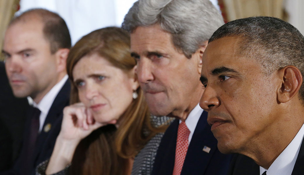 """Ben Rhodes, Samantha Power, John Kerry, and Barack Obama in """"The Final Year"""""""