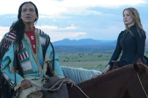 "Michael Greyeyes and Jessica Chastain in ""Woman Walks Ahead"""