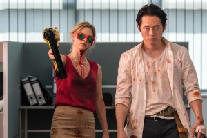 "Samara Weaving and Steven Yeun in ""Mayhem"""