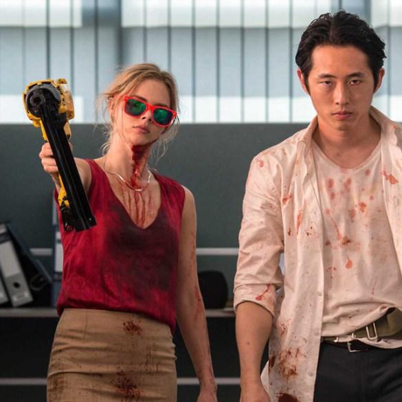 """Samara Weaving and Steven Yeun in """"Mayhem"""""""
