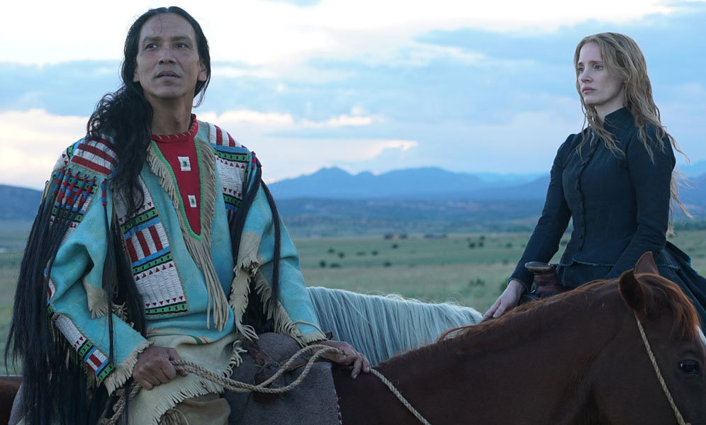 """Michael Greyeyes and Jessica Chastain in """"Woman Walks Ahead"""""""