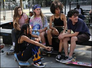 "A scene from Crystal Mozelle's ""Skate Kitchen"""