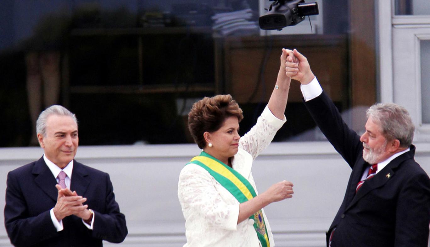 "Dilma Rousseff, Lula da Silva and Michel Temer in ""The Edge of Democracy"""