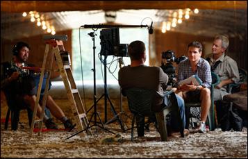 "James Moll on the set of ""Farmland"""