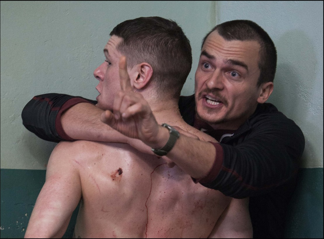 "Rupert Friend and Jack O'Connell in ""Starred Up"""