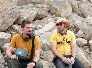 """Adam Wingard and Simon Barrett on the set of """"The Guest"""""""