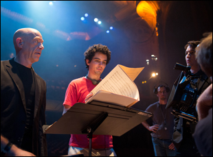 "Damien Chazelle with JK Simmons and Miles Teller on the set of ""Whiplash"""