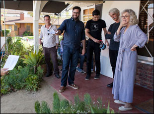 """Brett Haley, Blythe Danner and Sam Elliott on the set of """"I'll See You in My Dreams"""""""