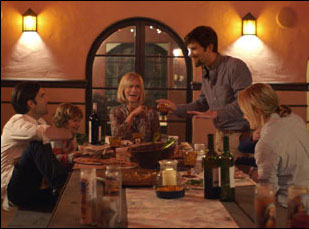 "Judith Godreche, Jason Schwartzman, Adam Scott and Taylor Schilling in ""The Overnight"""