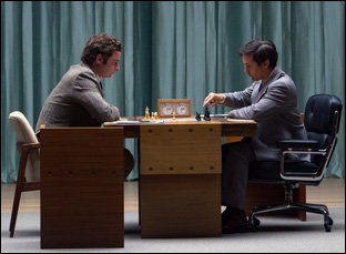 "Liev Schreiber and Tobey Maguire in ""Pawn Sacrifice"""