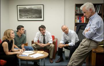 "Rachel McAdams, Mark Ruffalo, Brian d'Arcy James, Michael Keaton and John Slattery in ""Spotlight"""