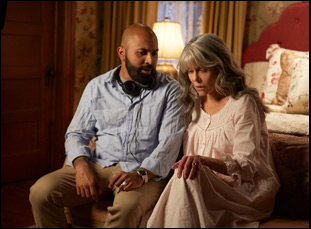 """Ritesh Batra and Jane Fonda on the set of """"Our Souls at Night"""""""