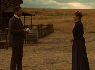 "Jim Caviezel and Kathy Baker in ""The Ballad of Lefty Brown"""