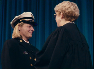 "Jan Rader and Judge Patricia Keller in ""Heroin(e)"""