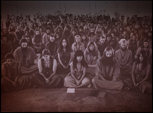 "A scene of the Rajneeshees in ""Wild Wild Country"""