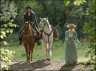 """Jessica Chastain and Michael Greyeyes in """"Woman Walks Ahead"""""""