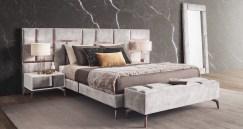Mobiliário de quarto com detalhes em cobre