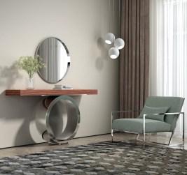 Ambiente com peças de mobiliário com inox