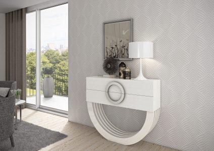 Consola em lacado alto brilho branco e cinza. Peças de mobiliário que transformam os ambientes.
