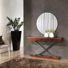 Consola em pau ferro alto brilho com detalhe em inox. Peças de mobiliário que transformam os ambientes.