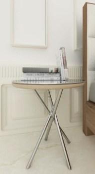 Mesa de apoio com tampo espelhado e pés em inox. Personalizamos ao seu gosto e estilo.