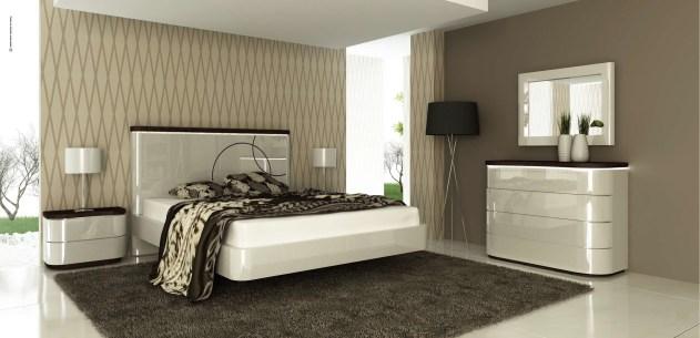 Quarto Casal em lacado alto brilho cinza com pormenores em carvalho chocolate. Transforme o seu quarto num Quarto de Sonho!