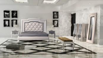 Quarto Casal em lacado alto brilho branco e cinza prata. Transforme o seu quarto num Quarto de Sonho!