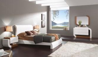 Quarto Casal em lacado alto brilho branco e nogueira. Transforme o seu quarto num Quarto de Sonho!