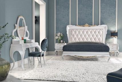 Quarto Casal em lacado alto brilho branco e dourado. Transforme o seu quarto num Quarto de Sonho!