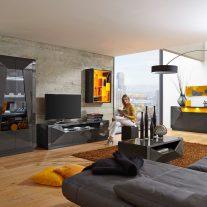 Sala de Estar em lacado alto brilho cinza escuro e amarelo. Personalizamos os acabamentos e as dimensões.