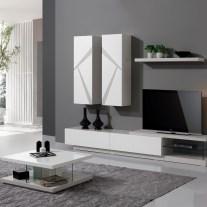 Sala estar em carvalho cinza e lacado branco mate. Personalizamos os acabamentos e as dimensões.