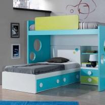 Composição Juvenil em lacado azul, verde e branco. Personalizamos o nosso mobiliário, contacte-nos!