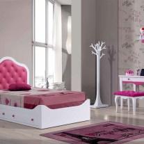 Quarto Juvenil em lacado branco e rosa. Personalizamos o nosso mobiliário, contacte-nos!