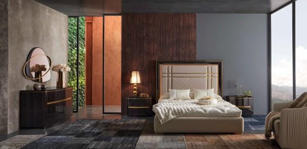 Quarto Casal em ébano alto brilho com detalhes em dourado. Transforme o seu quarto num Quarto de Sonho!